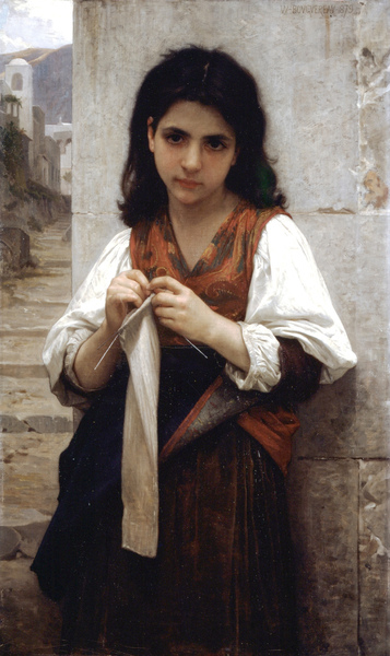 William-Adolphe Bouguereau's Tricoteuse (The Little Knitter)